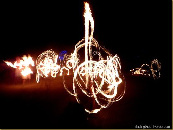 Fire twirlers at an ouback festival