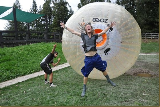 I survived the zorbing which made me happy