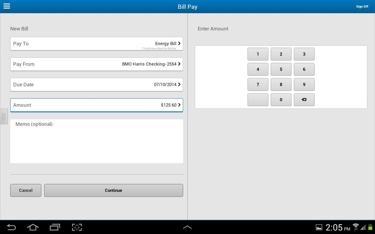 BMO Harris Mobile for Tablet- screenshot