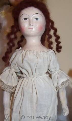 Queen Anne wooden doll reproduction hand-carved pecan wood