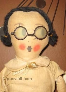 Cloth doll glasses spectacles vintage 1940s