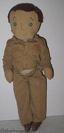 Cloth soldier doll Superior Needlework handmade embroidered 1940s 1950s