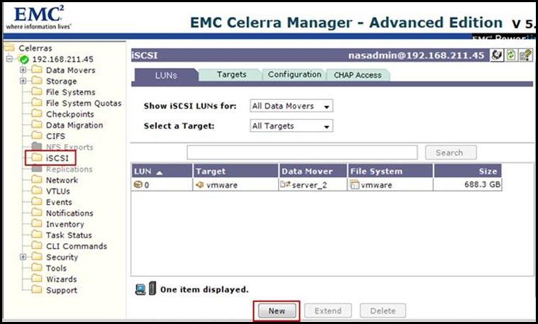 Creating a LUN on an EMC NS20 Celerra Filer | vCloudInfo