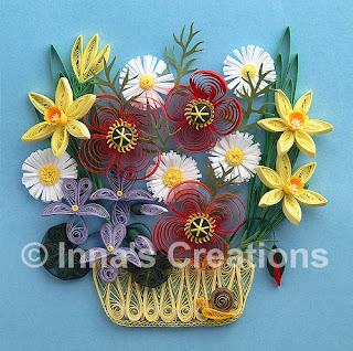 Quilled flowers in a basket