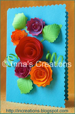 Innas creations floral greeting card with spiral flowers greeting card with flowers m4hsunfo