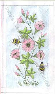 Bumblebees and flowers, pattern