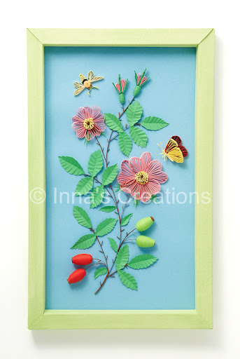 Innas creations 2009 dog rose and butterflies framed paper quilling mightylinksfo