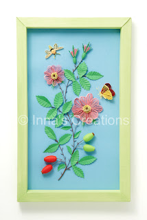 Quilled dog-rose with moth and butterfly