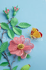 Quilled dog-rose flowers, buds, and butterfly