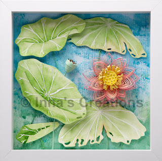 Quilled lotus, framed