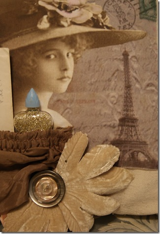 Sepia bottle & vintage velvet flower