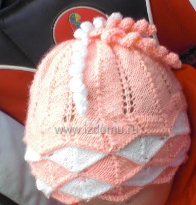 зимняя шапка для девочки спицами.