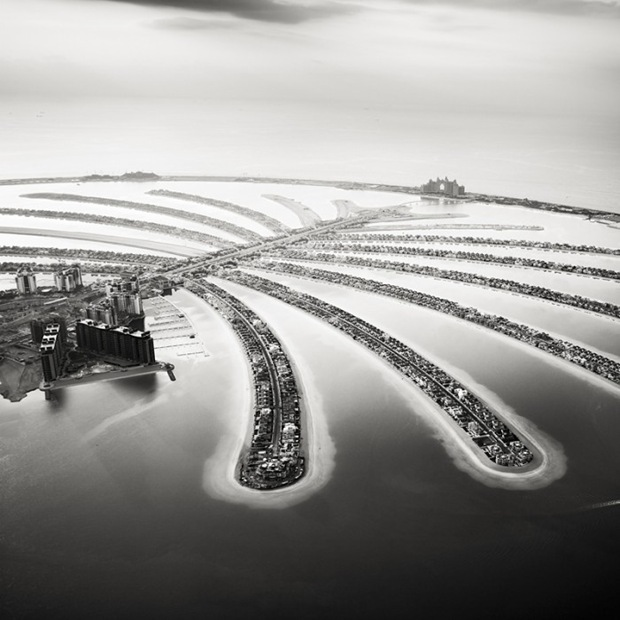 Black and White Photography of Dubai's-Palm-Islands