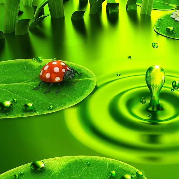 3d and bright green ipad wallpaper