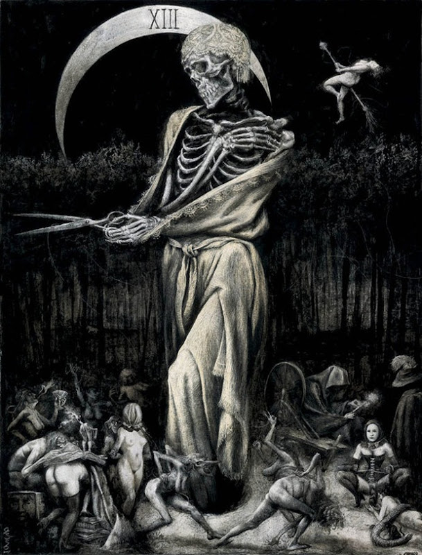 Black and White Gothic skeleton drawing and illustration