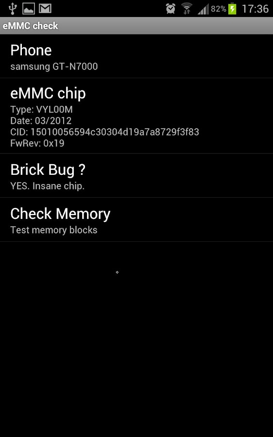 eMMC Brickbug Check – Screenshot