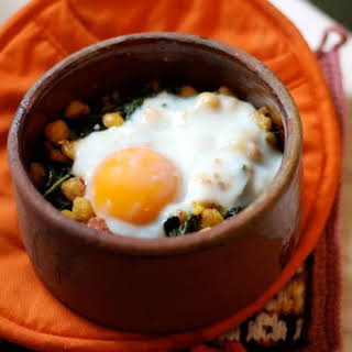 Kale, Chickpeas, and Sausage with Oven-Baked Egg.