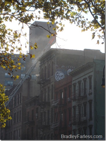 Smoke rising from the building.