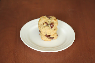 photo of a stack of Soft chocolate chip cookies