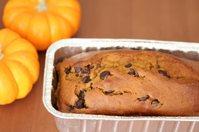 photo of Chocolate chip pumpkin bread in a loaf pan