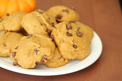 close-up photo of a plate of Soft Pumpkin chocolate chip cookies