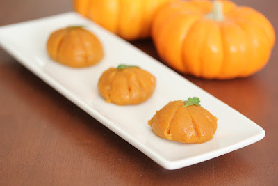 close-up photo of pumpkin mochi on a plate