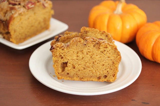 photo of slices of Pecan Streusel Pumpkin Bread on a plate