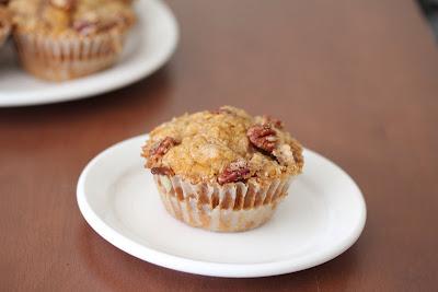 photo of a Pecan streusel pumpkin muffin
