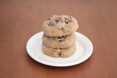 photo of a stack of three cookies on a plate
