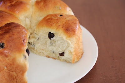 close-up photo of soft and fluffy raisin rolls