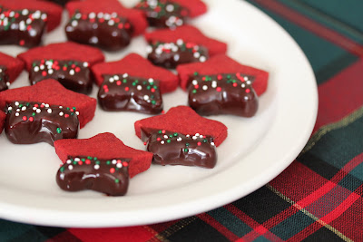 photo of Red Velvet Shortbread Cookies on a white plate