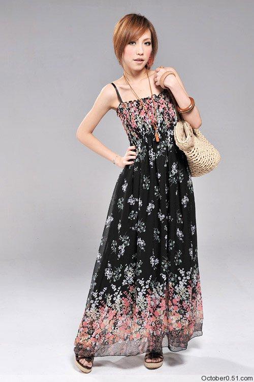 New Womens Full Length Chiffon Long Dress Dresses 1045