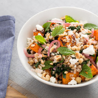 Sumac-Roasted Sweet Potato & Farro Salad with Pickled Onions & Hazelnuts