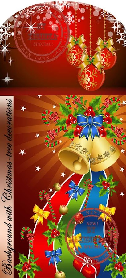Stock vector: Background with Christmas-tree decorations
