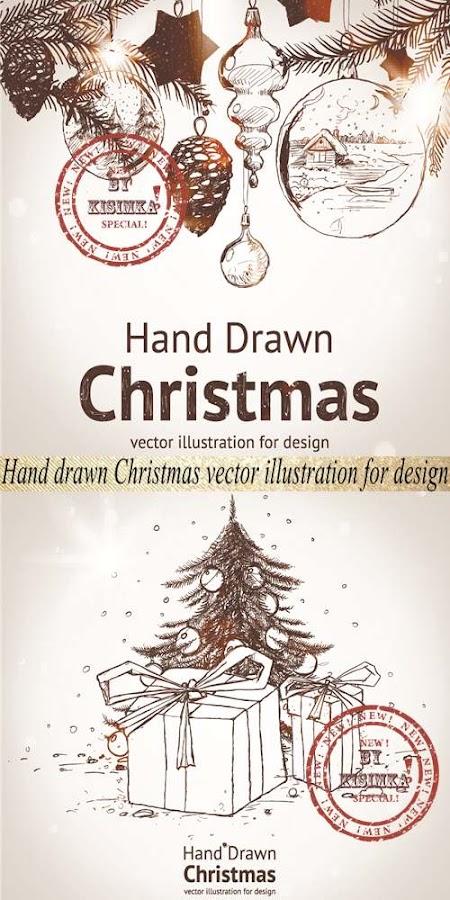 Stock: Hand drawn Christmas vector illustration for design