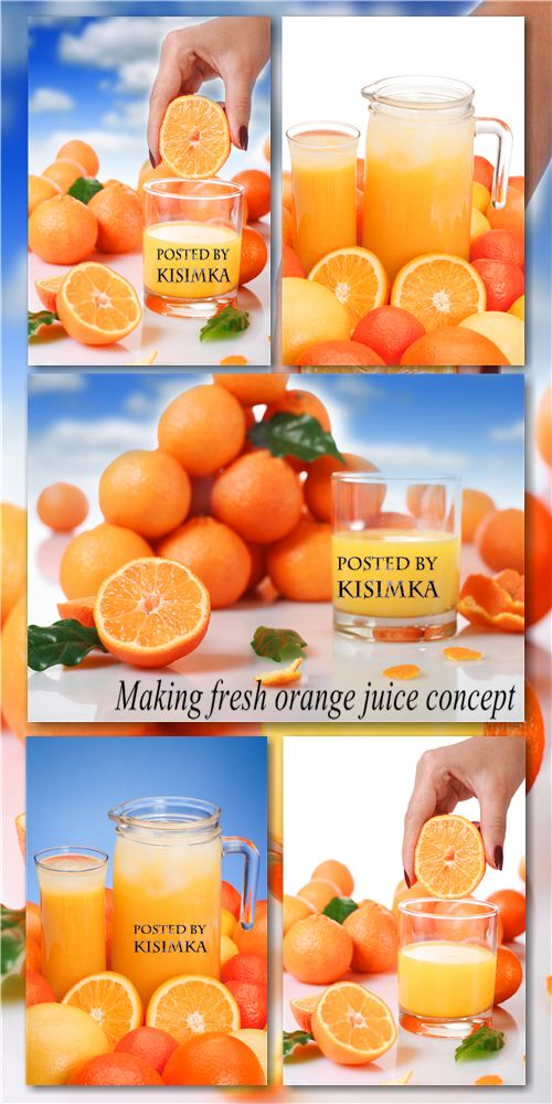 Stock Photo: Making fresh orange juice concept