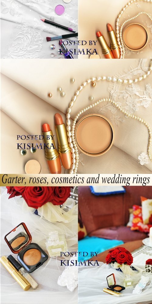 Stock Photo: Garter, roses, cosmetics and wedding rings