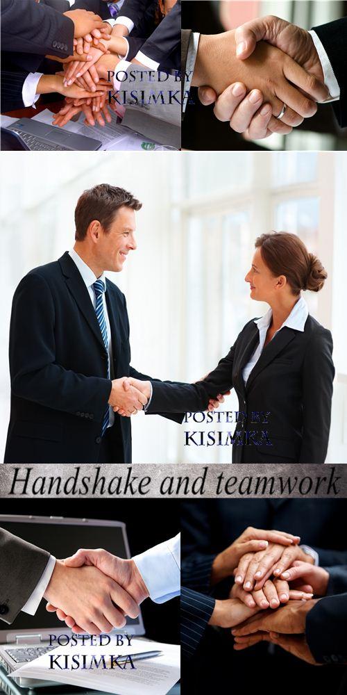 Stock Photo: Handshake and teamwork
