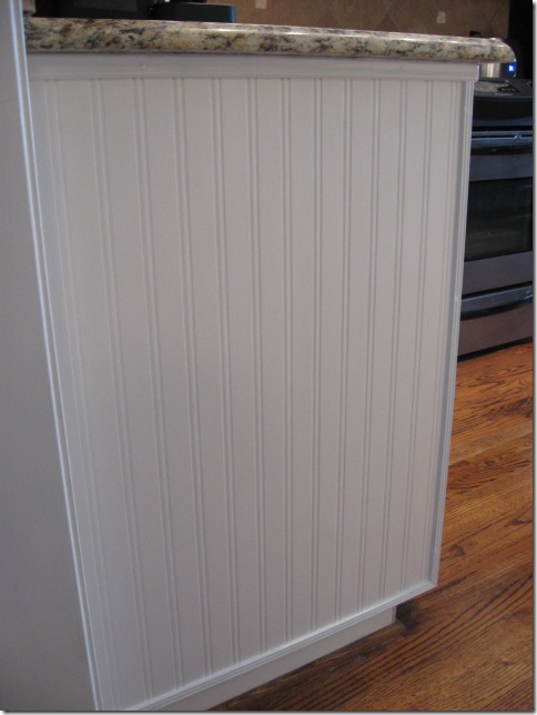 beadboard wallpaper on cabinet ends