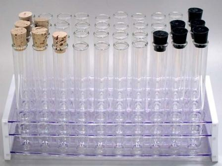 indigo test tubes in rack