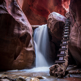 Red Rock Waterfall by Givanni Mikel - Landscapes Waterscapes ( ladder, stream, utah, waterfall, red rock, rocks,  )