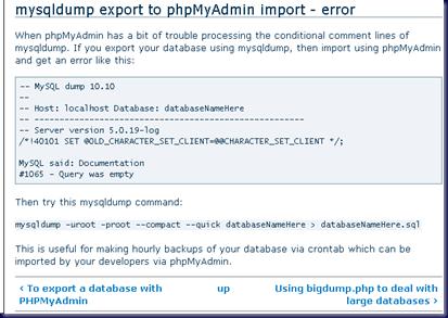 MPECS Inc  Blog: MySQL Export & Import Error – MySQL said: #1065