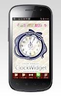 Screenshot of ストライプリボンの時計ウィジェットパック