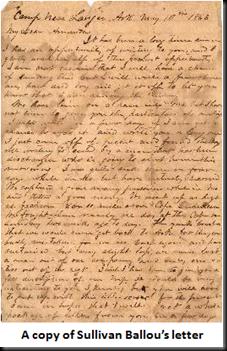 "... Musings on the Civil War: ""Dear Sarah:"" The Sullivan Ballou Letter"