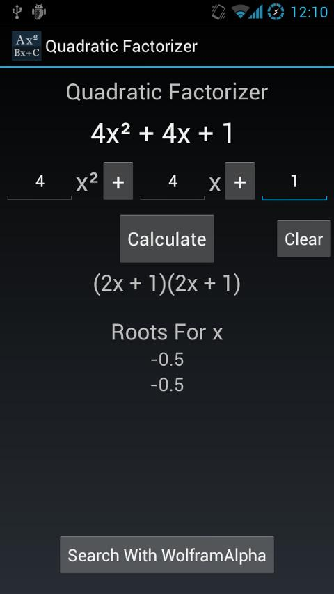 Quadratic Equation Factorizer - screenshot