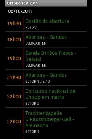 Oktoberfest 2011 - Programação- screenshot