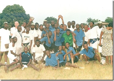 Jide and His Platoon Football Teammates after emerging champions of the football competition.
