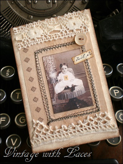 Greeting card with vintage image by Vintage with Laces