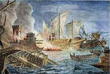 The Battle of Actium, depicted in this 19th-century engraving, helped seal Mark Antony's fate—and Cleopatra's image.