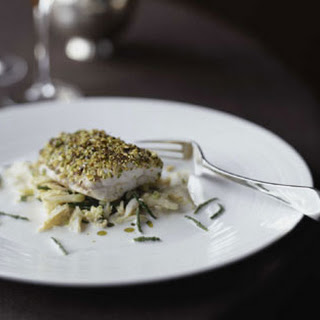 Pistachio Sea Bass with Crab Salad.